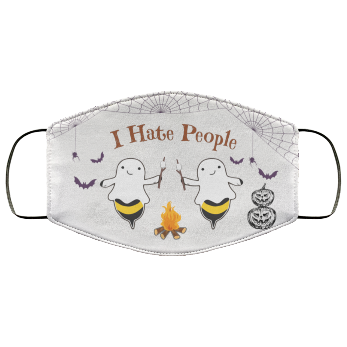 Boo Bee Ghost Halloween Camping I Hate People Face Mask