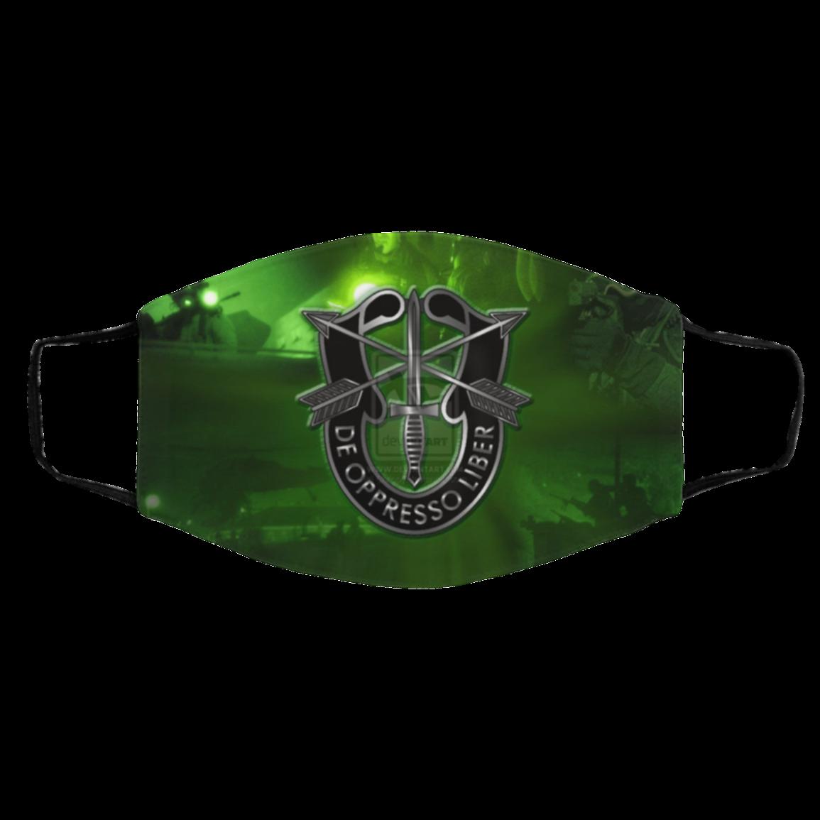 Masks A-rm-y Sp–c=ial Forc-es Gr-een Berets US Face Mask